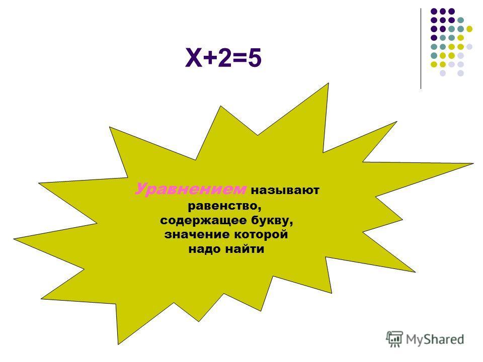 Х+2=5 Уравнением называют равенство, содержащее букву, значение которой надо найти