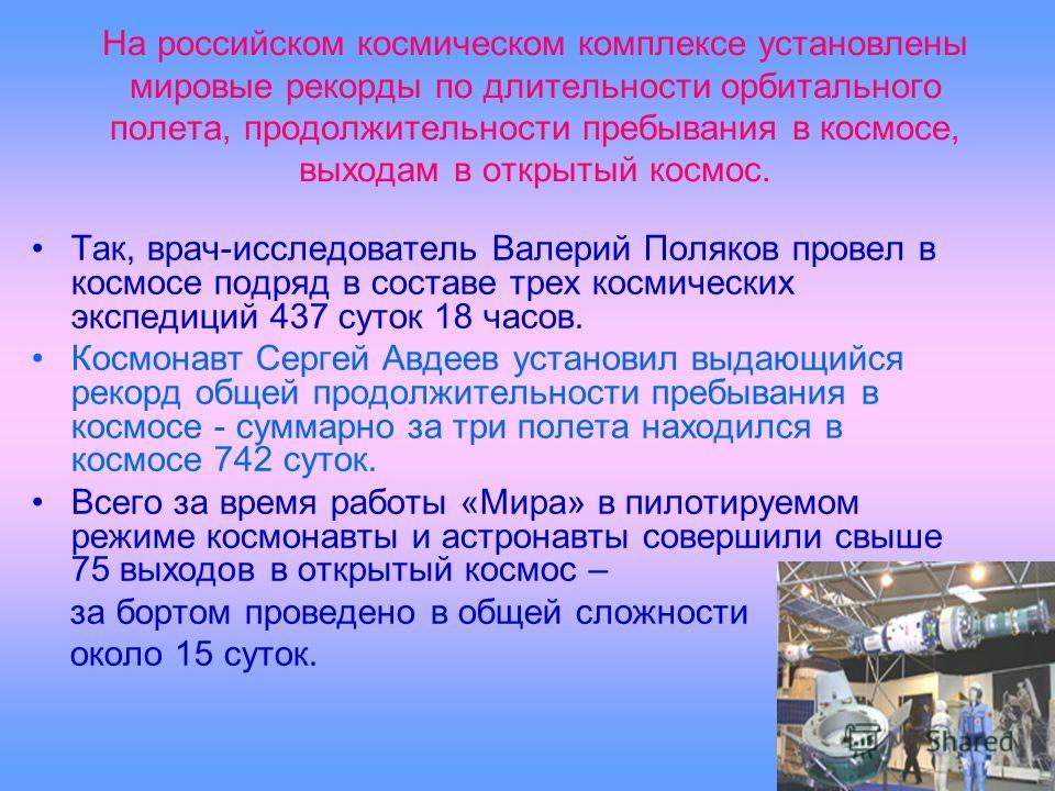 На российском космическом комплексе установлены мировые рекорды по длительности орбитального полета, продолжительности пребывания в космосе, выходам в открытый космос. Так, врач-исследователь Валерий Поляков провел в космосе подряд в составе трех кос