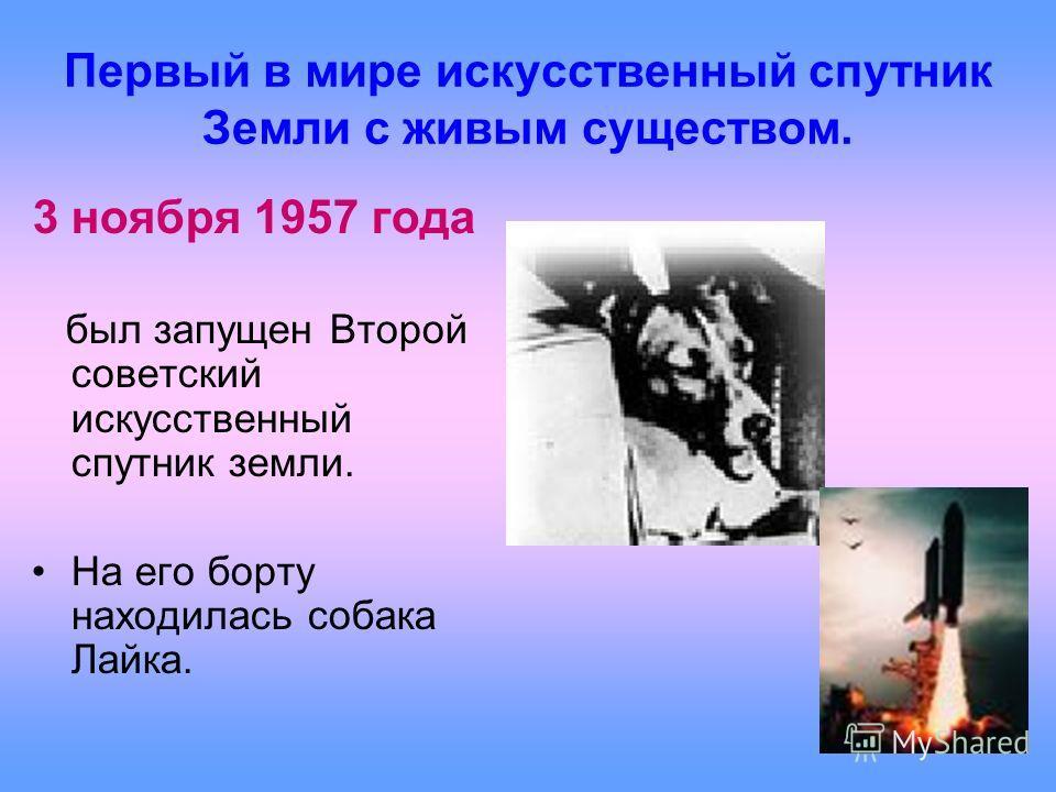 Первый в мире искусственный спутник Земли с живым существом. 3 ноября 1957 года был запущен Второй советский искусственный спутник земли. На его борту находилась собака Лайка.