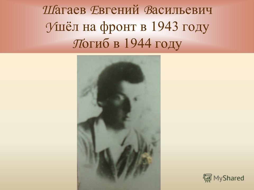 Ш агаев Е вгений В асильевич У шёл на фронт в 1943 году П огиб в 1944 году