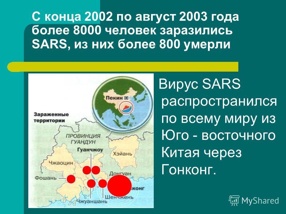 С конца 2002 по август 2003 года более 8000 человек заразились SARS, из них более 800 умерли Вирус SARS распространился по всему миру из Юго - восточного Китая через Гонконг.