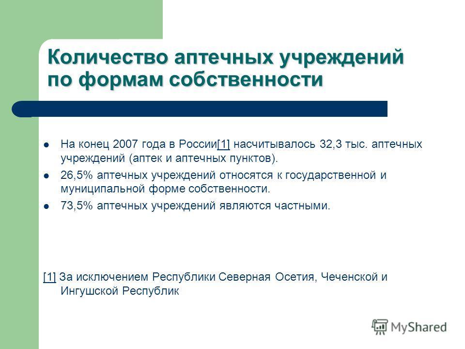 Количество аптечных учреждений по формам собственности На конец 2007 года в России[1] насчитывалось 32,3 тыс. аптечных учреждений (аптек и аптечных пунктов).[1] 26,5% аптечных учреждений относятся к государственной и муниципальной форме собственности