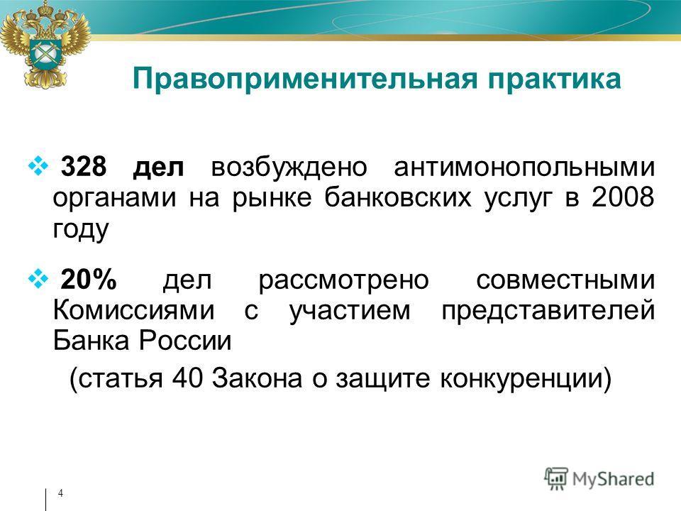 4 328 дел возбуждено антимонопольными органами на рынке банковских услуг в 2008 году 20% дел рассмотрено совместными Комиссиями с участием представителей Банка России (статья 40 Закона о защите конкуренции) Правоприменительная практика