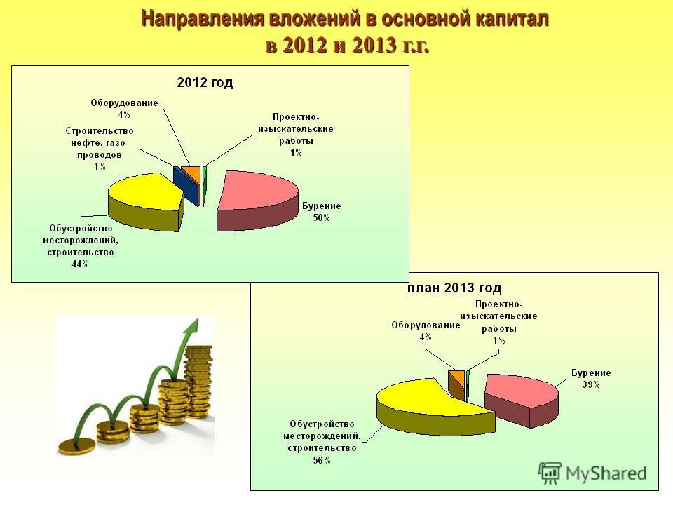 13 Направления вложений в основной капитал в 2012 и 2013 г.г.