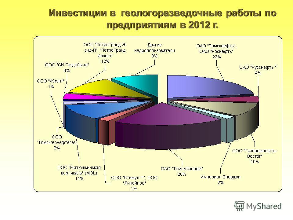 19 Инвестиции в геологоразведочные работы по предприятиям в 2012 г.