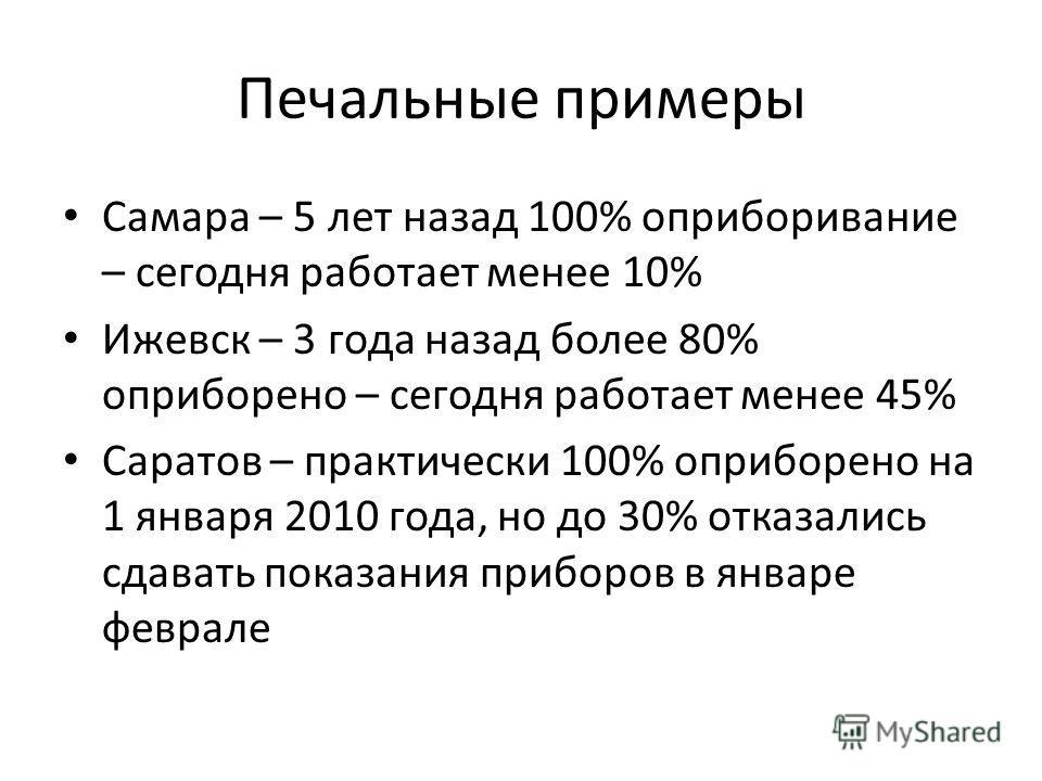 Печальные примеры Самара – 5 лет назад 100% оприборивание – сегодня работает менее 10% Ижевск – 3 года назад более 80% оприборено – сегодня работает менее 45% Саратов – практически 100% оприборено на 1 января 2010 года, но до 30% отказались сдавать п