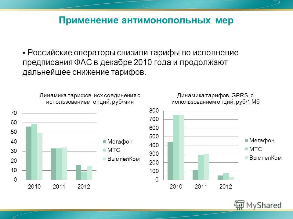Применение антимонопольных мер Российские операторы снизили тарифы во исполнение предписания ФАС в декабре 2010 года и продолжают дальнейшее снижение тарифов.