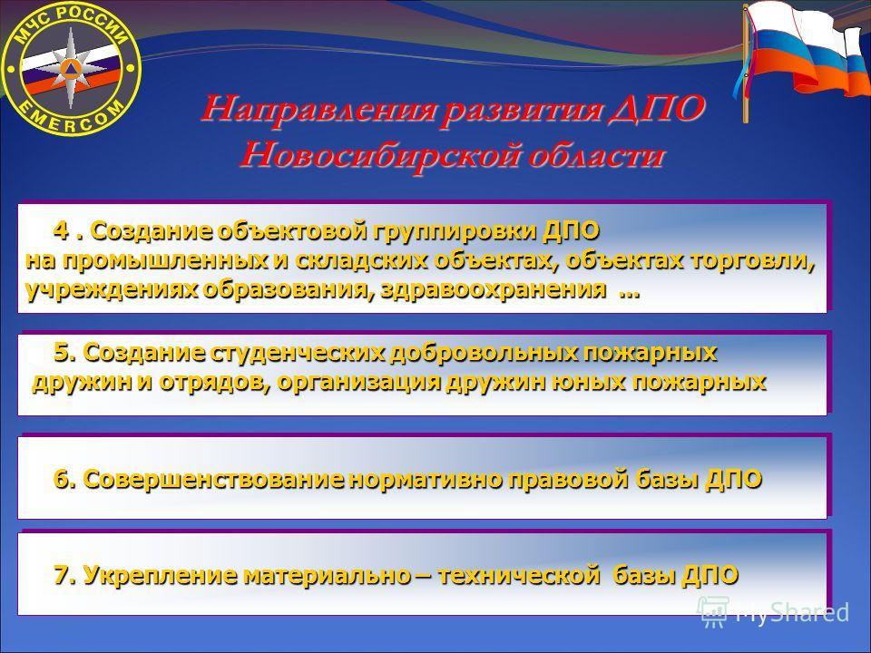 Направления развития ДПО Новосибирской области 5. Создание студенческих добровольных пожарных 5. Создание студенческих добровольных пожарных дружин и отрядов, организация дружин юных пожарных дружин и отрядов, организация дружин юных пожарных 5. Созд