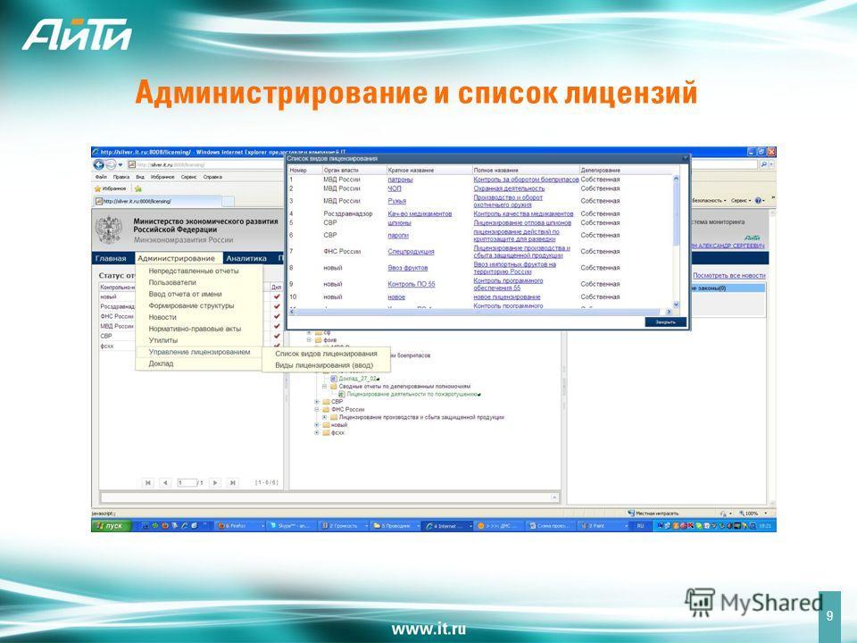 Администрирование и список лицензий 9