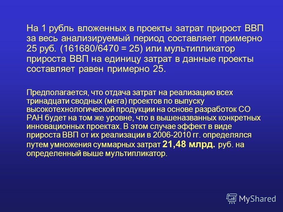 На 1 рубль вложенных в проекты затрат прирост ВВП за весь анализируемый период составляет примерно 25 руб. (161680/6470 = 25) или мультипликатор прироста ВВП на единицу затрат в данные проекты составляет равен примерно 25. Предполагается, что отдача
