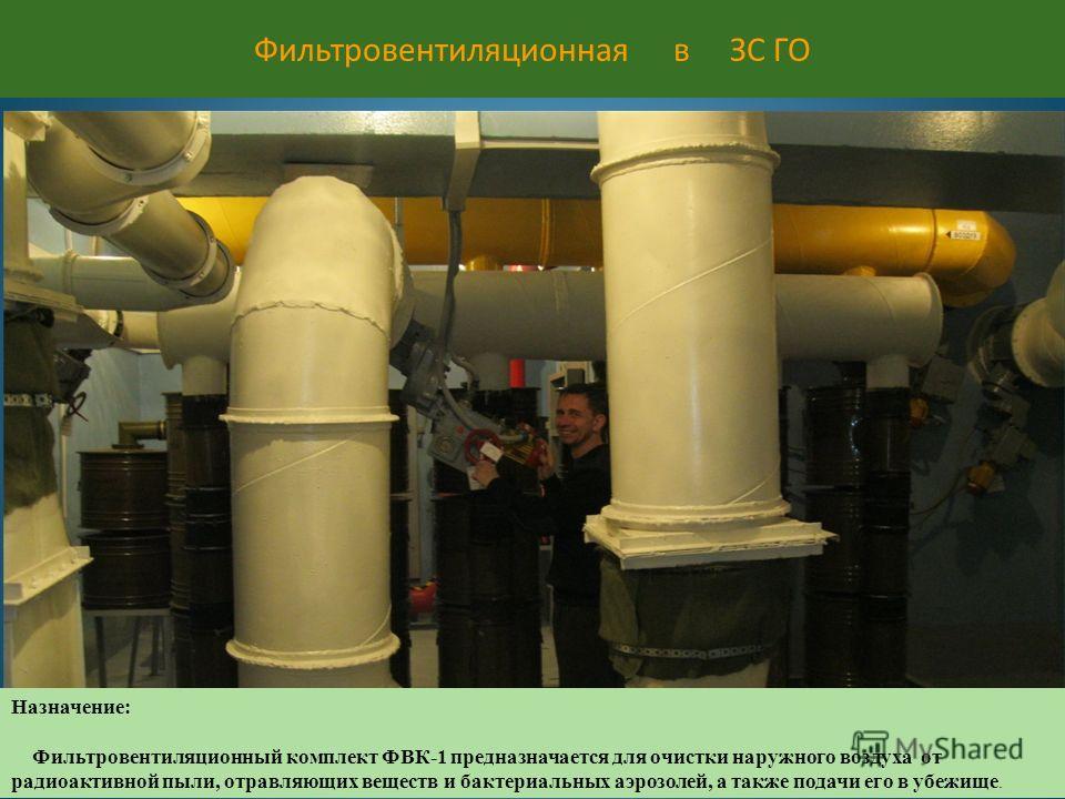 Фильтровентиляционная в ЗС ГО Назначение: Фильтровентиляционный комплект ФВК-1 предназначается для очистки наружного воздуха от радиоактивной пыли, отравляющих веществ и бактериальных аэрозолей, а также подачи его в убежище.