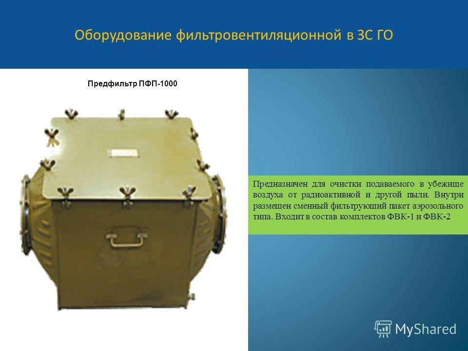 Оборудование фильтровентиляционной в ЗС ГО Предфильтр ПФП-1000 Предназначен для очистки подаваемого в убежище воздуха от радиоактивной и другой пыли. Внутри размещен сменный фильтрующий пакет аэрозольного типа. Входит в состав комплектов ФВК-1 и ФВК-
