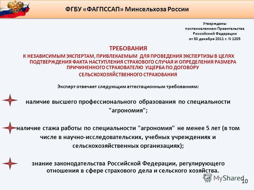 Утверждены постановлением Правительства Российской Федерации от 30 декабря 2011 г. N 1205 ТРЕБОВАНИЯ К НЕЗАВИСИМЫМ ЭКСПЕРТАМ, ПРИВЛЕКАЕМЫМ ДЛЯ ПРОВЕДЕНИЯ ЭКСПЕРТИЗЫ В ЦЕЛЯХ ПОДТВЕРЖДЕНИЯ ФАКТА НАСТУПЛЕНИЯ СТРАХОВОГО СЛУЧАЯ И ОПРЕДЕЛЕНИЯ РАЗМЕРА ПРИЧИ