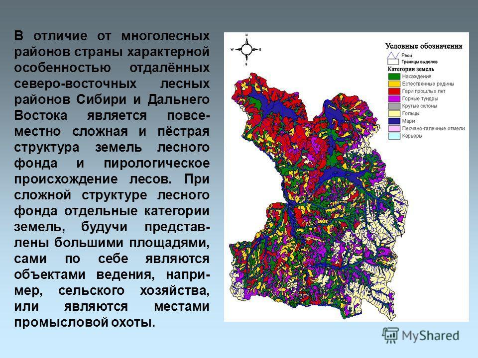 В отличие от многолесных районов страны характерной особенностью отдалённых северо-восточных лесных районов Сибири и Дальнего Востока является повсе- местно сложная и пёстрая структура земель лесного фонда и пирологическое происхождение лесов. При сл