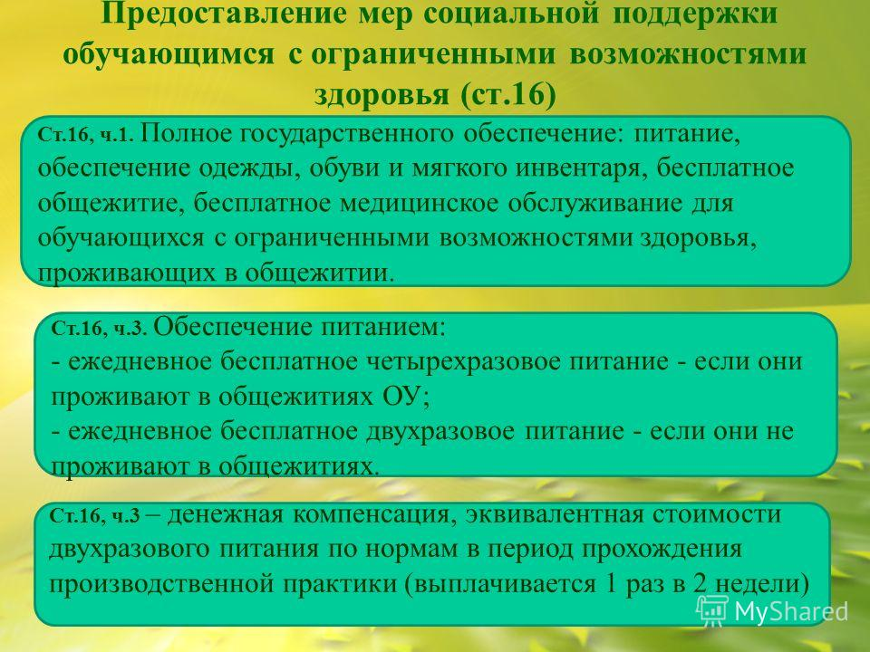 Предоставление мер социальной поддержки обучающимся с ограниченными возможностями здоровья (ст.16) Ст.16, ч.1. Полное государственного обеспечение: питание, обеспечение одежды, обуви и мягкого инвентаря, бесплатное общежитие, бесплатное медицинское о