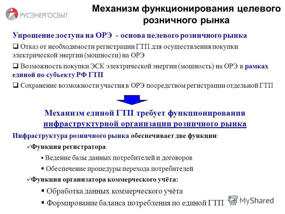 Механизм функционирования целевого розничного рынка Упрощение доступа на ОРЭ - основа целевого розничного рынка Отказ от необходимости регистрации ГТП для осуществления покупки электрической энергии (мощности) на ОРЭ Возможность покупки ЭСК электриче
