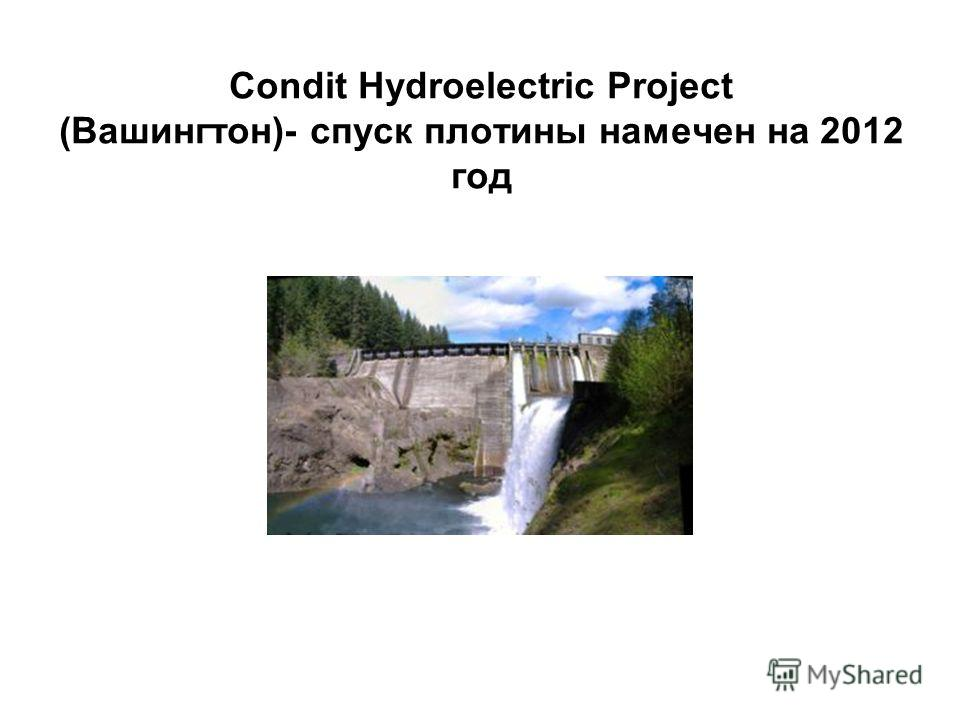 Condit Hydroelectric Project (Вашингтон)- спуск плотины намечен на 2012 год