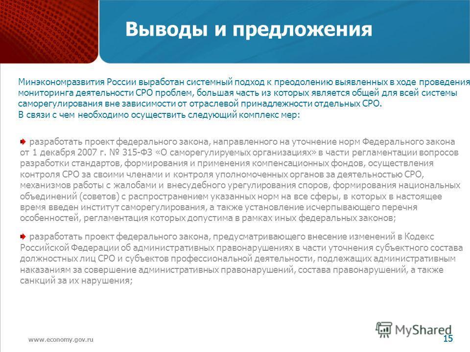 www.economy.gov.ru 15 Выводы и предложения разработать проект федерального закона, направленного на уточнение норм Федерального закона от 1 декабря 2007 г. 315-ФЗ «О саморегулируемых организациях» в части регламентации вопросов разработки стандартов,