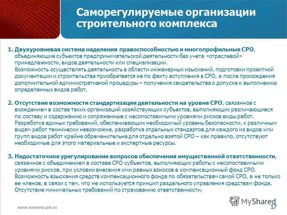 www.economy.gov.ru 17 Саморегулируемые организации строительного комплекса 1. Двухуровневая система наделения правоспособностью и многопрофильные СРО, объединяющие субъектов предпринимательской деятельности без учета «отраслевой» принадлежности, видо