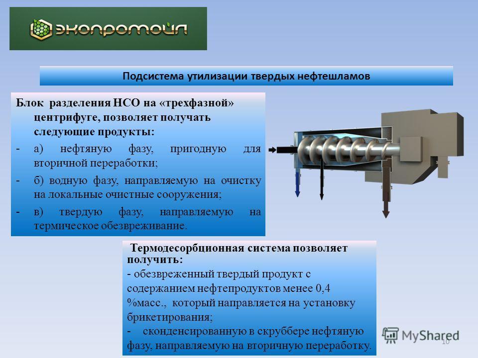 10 Блок разделения НСО на «трехфазной» центрифуге, позволяет получать следующие продукты: -а) нефтяную фазу, пригодную для вторичной переработки; -б) водную фазу, направляемую на очистку на локальные очистные сооружения; -в) твердую фазу, направляему
