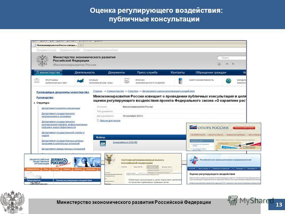 13 Министерство экономического развития Российской Федерации Оценка регулирующего воздействия: публичные консультации 13