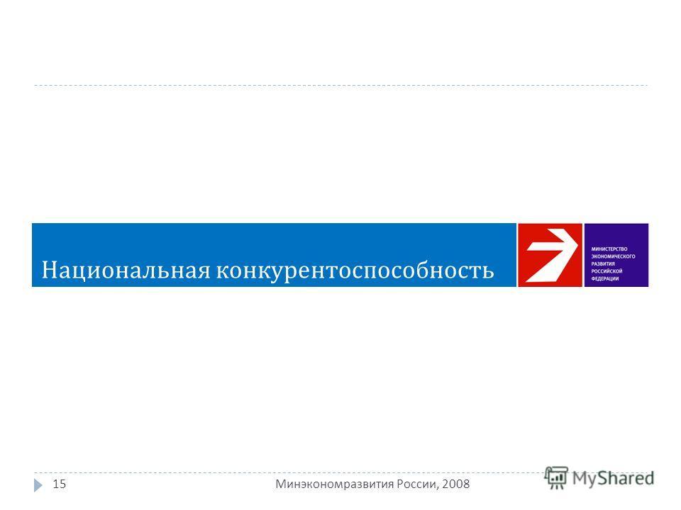 15 Минэкономразвития России, 2008 Национальная конкурентоспособность