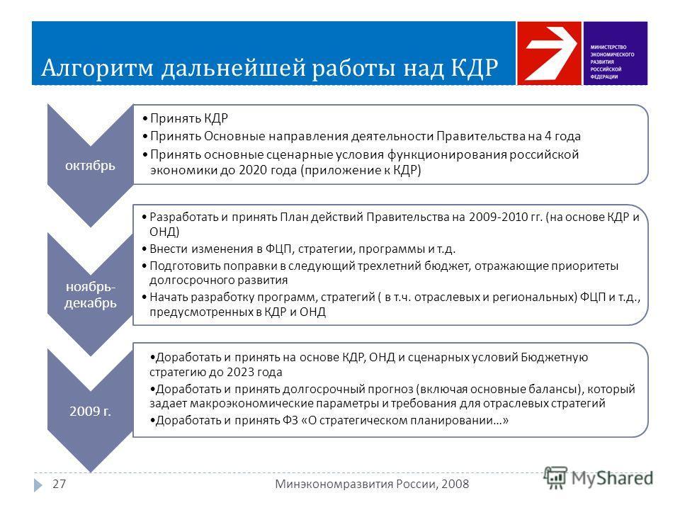 Алгоритм дальнейшей работы над КДР 27 Минэкономразвития России, 2008 октябрь Принять КДР Принять Основные направления деятельности Правительства на 4 года Принять основные сценарные условия функционирования российской экономики до 2020 года ( приложе