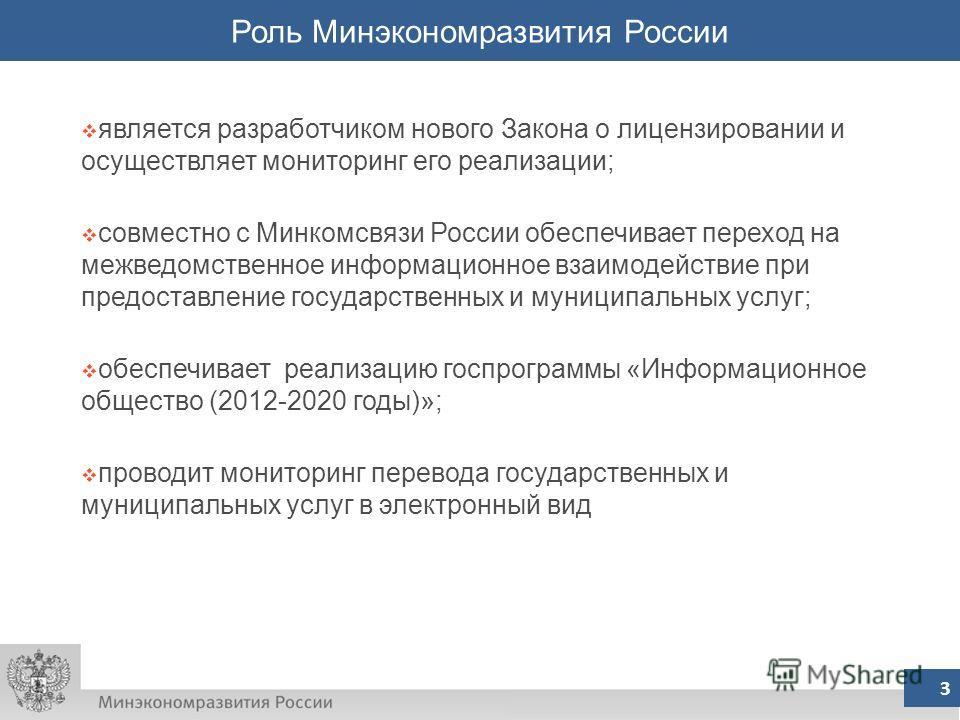 3 Роль Минэкономразвития России 3 является разработчиком нового Закона о лицензировании и осуществляет мониторинг его реализации; совместно с Минкомсвязи России обеспечивает переход на межведомственное информационное взаимодействие при предоставление
