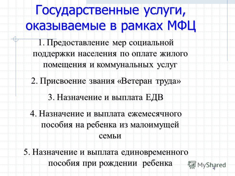 4 Государственные услуги, оказываемые в рамках МФЦ