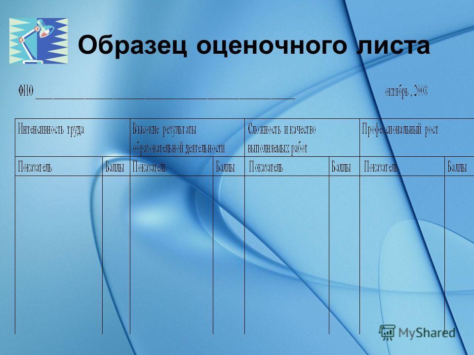 Образец оценочного листа