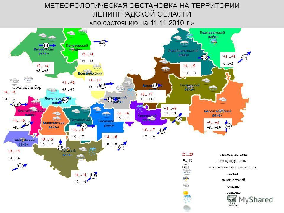 Калининград МЕТЕОРОЛОГИЧЕСКАЯ ОБСТАНОВКА НА ТЕРРИТОРИИ ЛЕНИНГРАДСКОЙ ОБЛАСТИ «по состоянию на 11.11.2010 г.» 22…25 9…12 +2…+4 +4…+6 +5…+7 +3…+5 +4…+6 +7…+9 +4…+6 +3…+5 +5…+7 +4…+6 +6…+8 +5…+7 +7…+9 +3…+6 +8…+10 +5…+7 +8…+10 +3…+5 0…+2 +4…+6 +7…+9 - т
