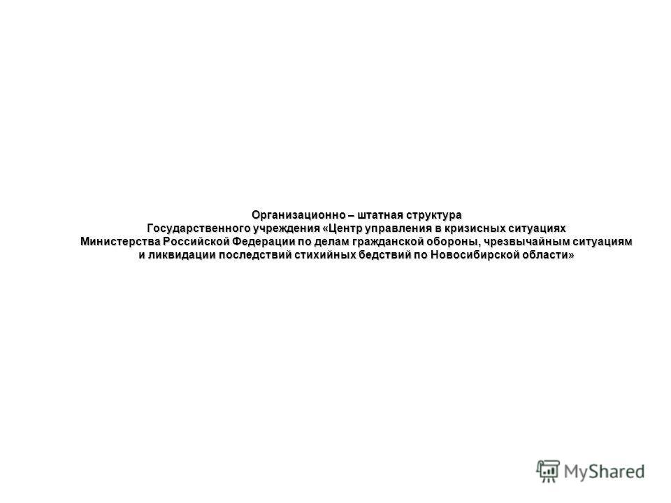 Организационно – штатная структура Государственного учреждения «Центр управления в кризисных ситуациях Министерства Российской Федерации по делам гражданской обороны, чрезвычайным ситуациям и ликвидации последствий стихийных бедствий по Новосибирской