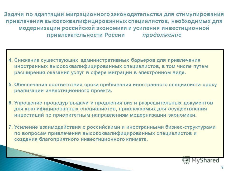 Задачи по адаптации миграционного законодательства для стимулирования привлечения высококвалифицированных специалистов, необходимых для модернизации российской экономики и усиления инвестиционной привлекательности России продолжение 4. Снижение сущес