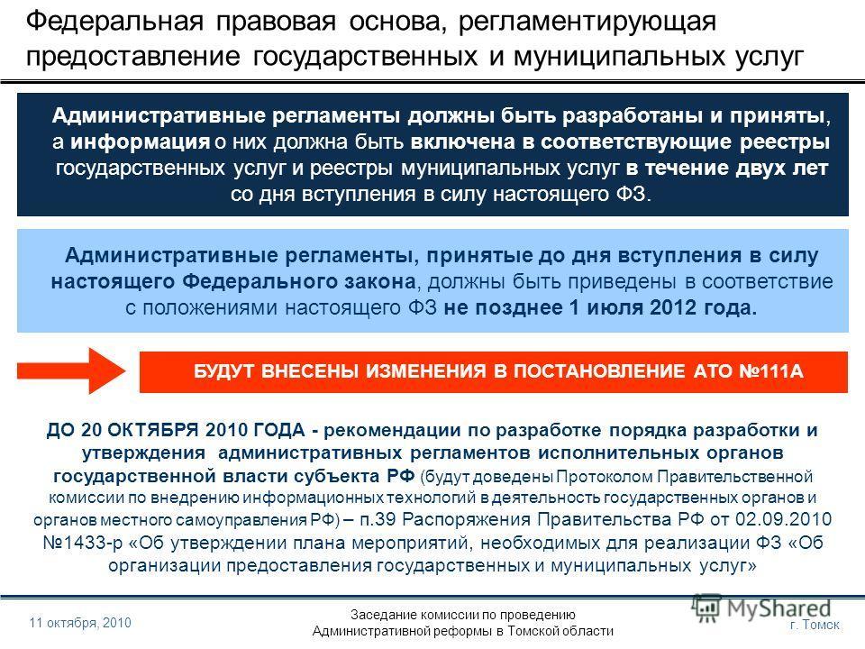 Заседание комиссии по проведению Административной реформы в Томской области г. Томск 11 октября, 2010 Федеральная правовая основа, регламентирующая предоставление государственных и муниципальных услуг Административные регламенты должны быть разработа