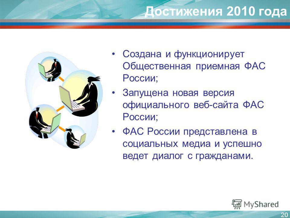 20 Создана и функционирует Общественная приемная ФАС России; Запущена новая версия официального веб-сайта ФАС России; ФАС России представлена в социальных медиа и успешно ведет диалог с гражданами. Достижения 2010 года