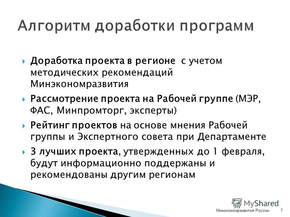 Доработка проекта в регионе с учетом методических рекомендаций Минэкономразвития Рассмотрение проекта на Рабочей группе (МЭР, ФАС, Минпромторг, эксперты) Рейтинг проектов на основе мнения Рабочей группы и Экспертного совета при Департаменте 3 лучших
