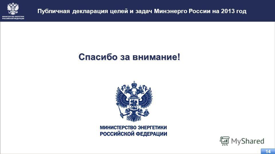 Публичная декларация целей и задач Минэнерго России на 2013 год 14 Спасибо за внимание!