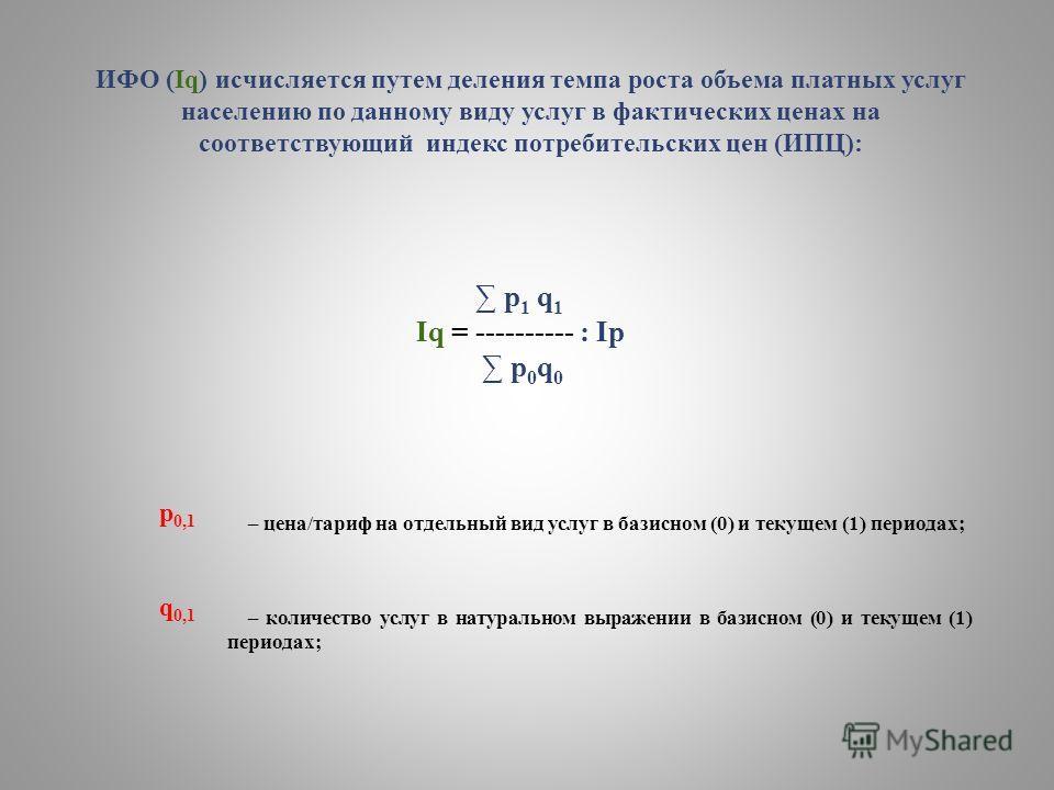 ИФО (Iq) исчисляется путем деления темпа роста объема платных услуг населению по данному виду услуг в фактических ценах на соответствующий индекс потребительских цен (ИПЦ): р 1 q 1 Iq = ---------- : Ip p 0 q 0 p 0,1 – цена/тариф на отдельный вид услу