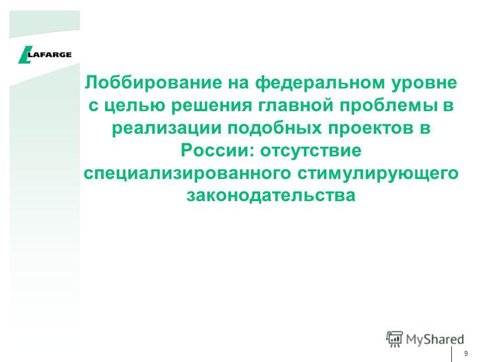 9 Лоббирование на федеральном уровне с целью решения главной проблемы в реализации подобных проектов в России: отсутствие специализированного стимулирующего законодательства