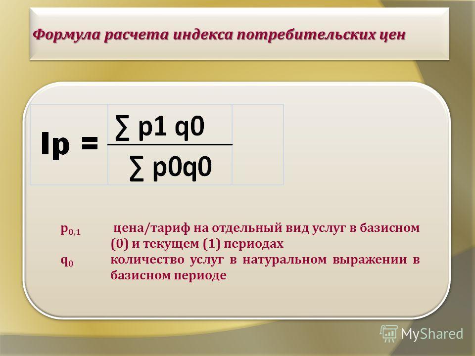 Формула расчета индекса потребительских цен p 0,1 цена / тариф на отдельный вид услуг в базисном (0) и текущем (1) периодах q0q0 количество услуг в натуральном выражении в базисном периоде