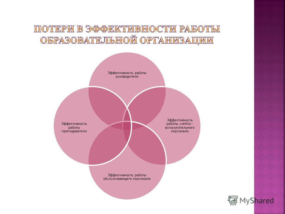 Эффективность работы руководителя Эффективность работы учебно – вспомогательного персонала Эффективность работы обслуживающего персонала Эффективность работы преподавателя