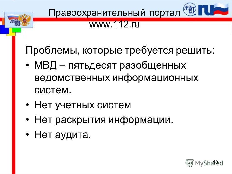 10 Правоохранительный портал www.112.ru Проблемы, которые требуется решить: МВД – пятьдесят разобщенных ведомственных информационных систем. Нет учетных систем Нет раскрытия информации. Нет аудита.