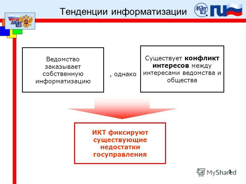 3 Тенденции информатизации Ведомство заказывает собственную информатизацию Существует конфликт интересов между интересами ведомства и общества ИКТ фиксируют существующие недостатки госуправления, однако