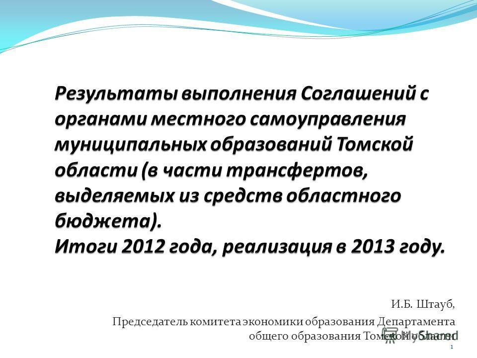 И.Б. Штауб, Председатель комитета экономики образования Департамента общего образования Томской области 1