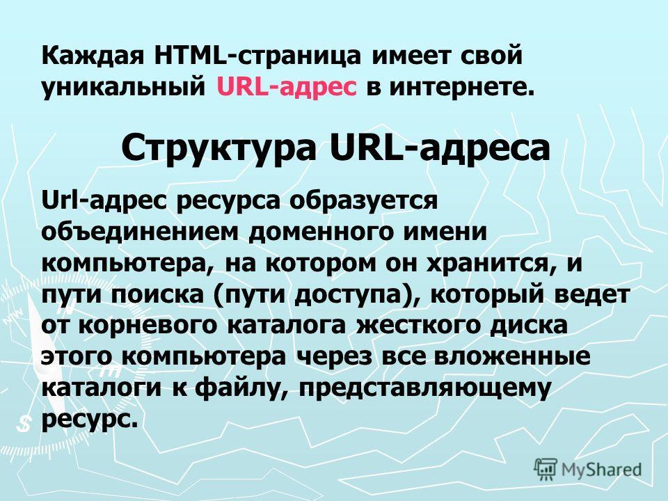 Каждая HTML-страница имеет свой уникальный URL-адрес в интернете. Структура URL-адреса Url-адрес ресурса образуется объединением доменного имени компьютера, на котором он хранится, и пути поиска (пути доступа), который ведет от корневого каталога жес
