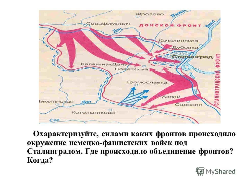 Охарактеризуйте, силами каких фронтов происходило окружение немецко-фашистских войск под Сталинградом. Где происходило объединение фронтов? Когда?