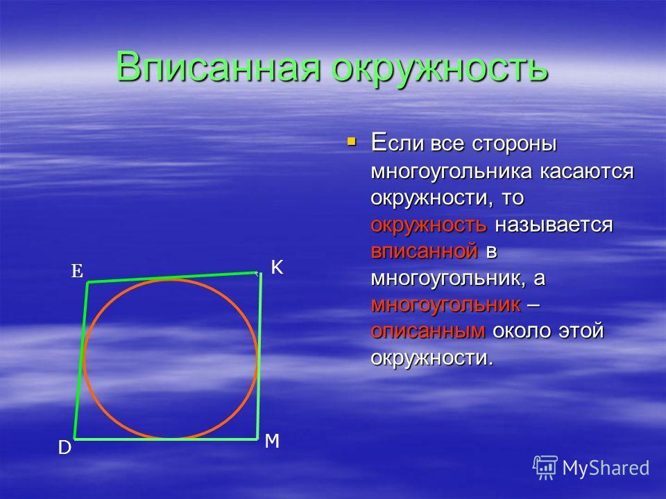 Вписанная окружность Е сли все стороны многоугольника касаются окружности, то окружность называется вписанной в многоугольник, а многоугольник – описанным около этой окружности. Е сли все стороны многоугольника касаются окружности, то окружность назы
