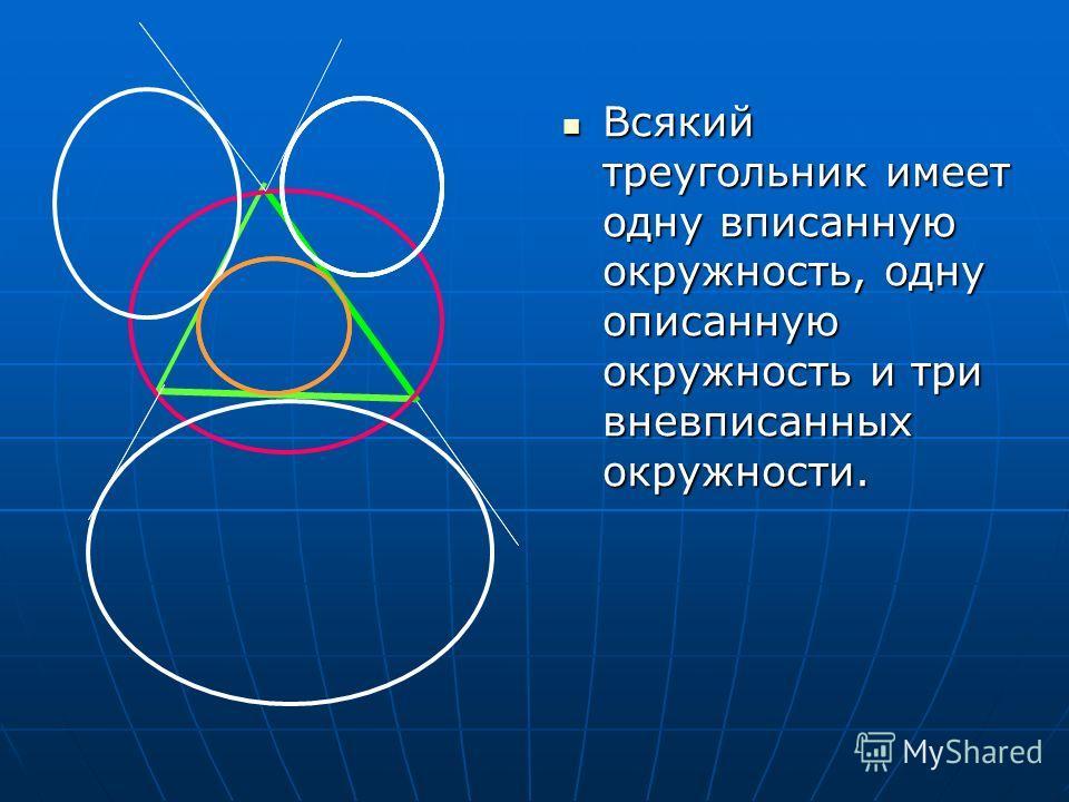 Всякий треугольник имеет одну вписанную окружность, одну описанную окружность и три вневписанных окружности. Всякий треугольник имеет одну вписанную окружность, одну описанную окружность и три вневписанных окружности.