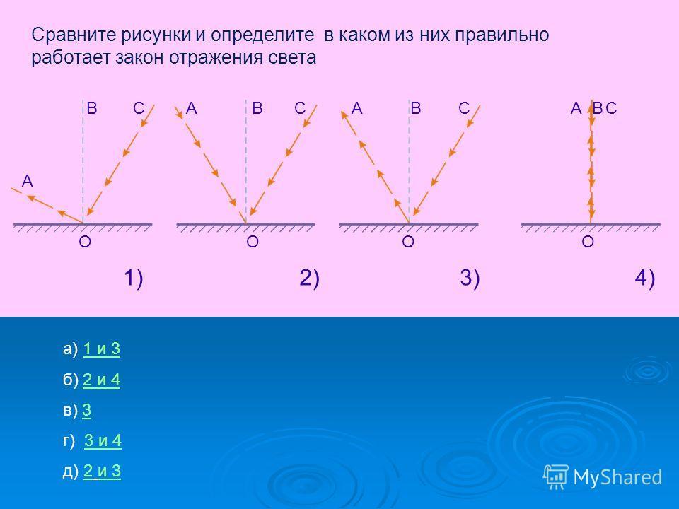 Сравните рисунки и определите в каком из них правильно работает закон отражения света А В ОO ABC O ABC O CAB 1)1)2)3)4) а) 1 и 31 и 3 б) 2 и 42 и 4 в) 33 г) 3 и 43 и 4 д) 2 и 3и 3 C