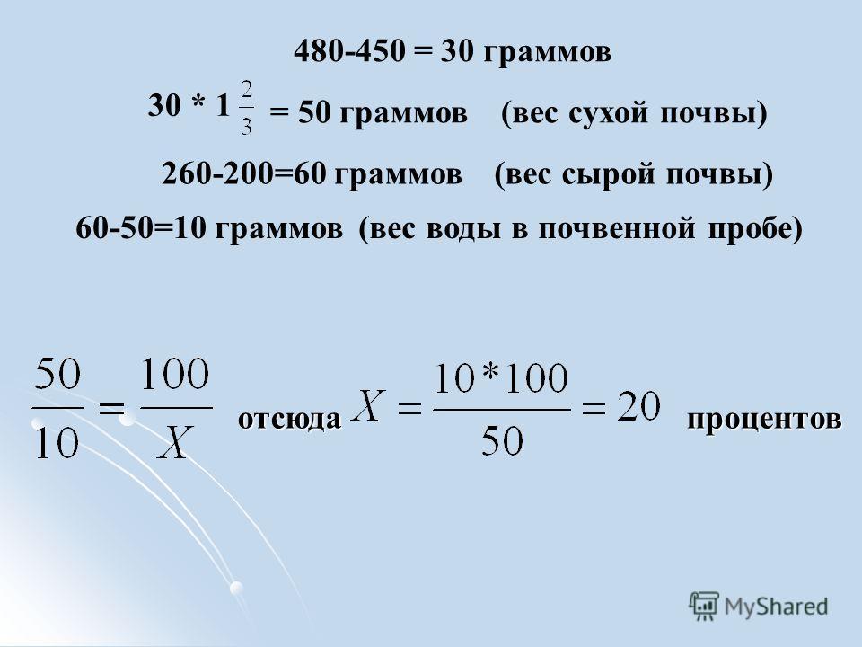 отсюда процентов отсюда процентов 30 * 1 = 50 граммов 480-450 = 30 граммов 260-200=60 граммов 60-50=10 граммов (вес сухой почвы) (вес сырой почвы) (вес воды в почвенной пробе)